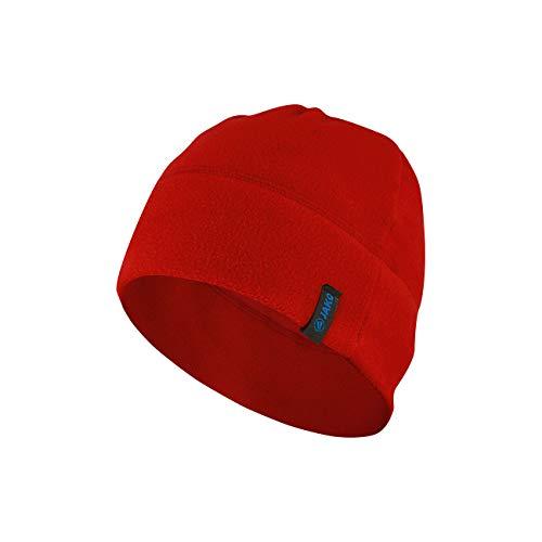 JAKO Unisex Kinder Fleece Mütze, rot, senior