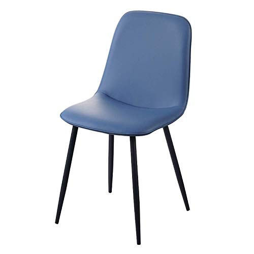 Dining Chairs Soft Faux Leather Reception Chairs with Backrest Upholstered Seat Black Metal Legs Counter Lounge Living Room Corner Chair (Color : Royal Blue)