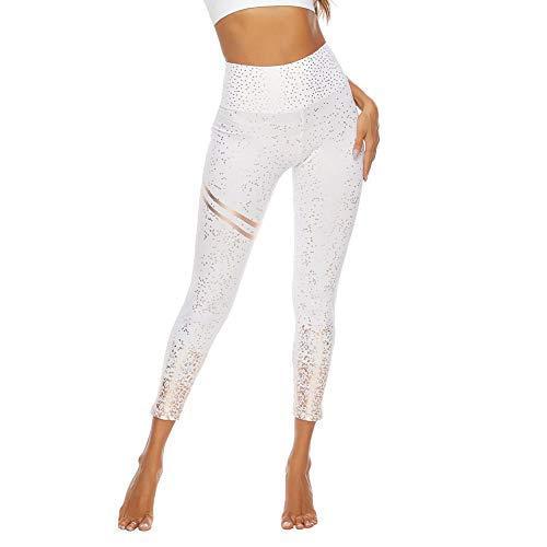 SotRong Brillantes Mallas Running Pantalones Deportivos Mujer Leggings Yoga de Alta Cintura Elásticos y Transpirables (M, Blanco)