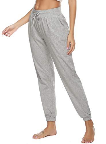 Vlazom Damen Schlafanzughose Baumwolle Pyjamahose Nachtwäsche Sleep Pants Freizeithose Lang Jogging Hose mit Taschen