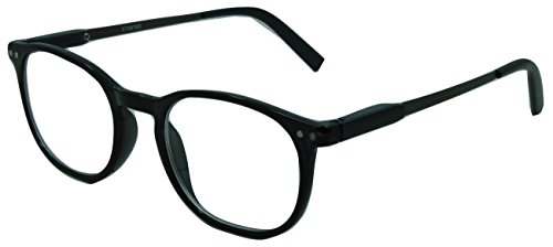 In Style Eyes Wall Street II, Stylish Classic Look Spring Hinged Reading Glasses Black 1.00
