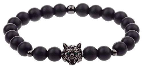 KEKEYANG Pulsera de piedra para mujer, 7 chakras naturales de piedra esmerilada negra con cuentas elásticas para rezar con cabeza de lobo negro, joyería animal, yoga, equilibrio energético, reiki