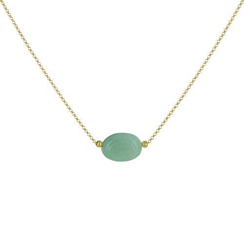 Gioelli Les Poulettes - Collana in Placcato Oro Pietra Ovale Quarzo Verde
