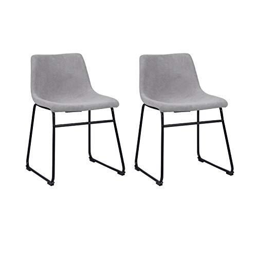 Juego de 2 sillas de comedor sin reposabrazos, estilo retro, silla de oficina con patas de metal y esterilla protectora para el suelo, tela gris
