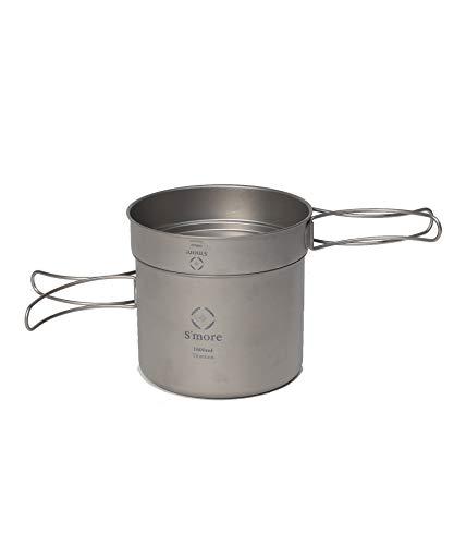 S'more(スモア) Titanium Cooker Set キャンプクッカーセット チタン クッカー 2点セット 調理器具 チタンマグ チタンマグカップ シングル アウトドア キャンプ チタン食器 直火 折り畳みハンドル (L(500ml 1600ml