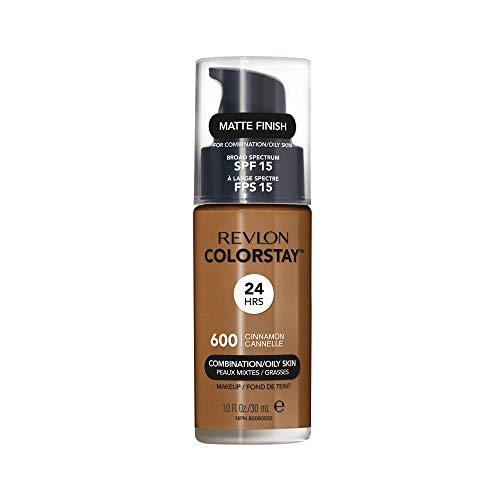 Revlon ColorStay Liquid Foundation Makeup for Combination/Oily Skin SPF 15, Longwear Medium-Full Coverage with Matte Finish, Cinnamon (600), 1.0 oz
