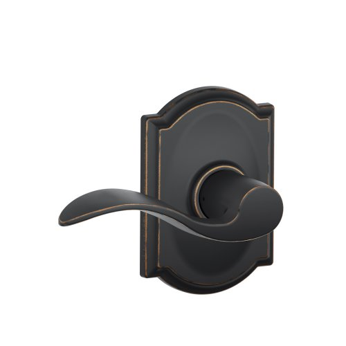 Schlage Camelot Trim with Accent Hall and Closet Lever, Aged Bronze (F10 ACC 716 CAM)