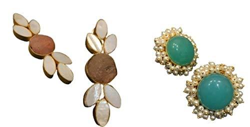 Artesanía con amor, un combo perfecto de 2 pares – unos hermosos pendientes de flor de oro con coloridos pendientes de flor de piedra que mejoran tu belleza.
