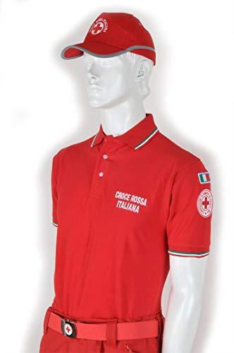 Generico Polo Croce Rossa Ricamato (Modello Italia Tricolore - 100% Cotone) (L)