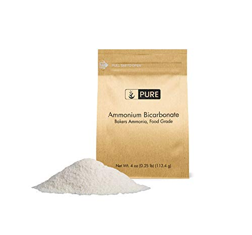 PURE Ammonium Bicarbonate (4 oz.), Traditional Leavening Agent Used in Flat Baked Goods such as Cookies or Crackers