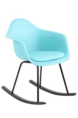 CLP Schaukelstuhl Merry mit Kunststoffsitz I Schaukelsessel mit Kunstlederbezug I Relaxsessel mit Holzkufen, Farbe:blau
