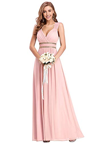Ever-Pretty Damen Abendkleid A-Linie Festliches Kleid V Ausschnitt Brautjungfer rückenfrei lang Rosa 42