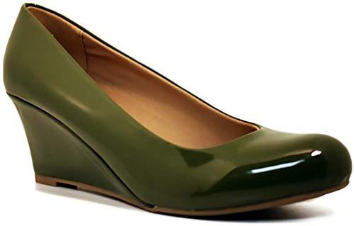 Forever Doris-22 Wedges Pumps-Shoes mve Shoes Doris 22 Olive pat Size 6.5