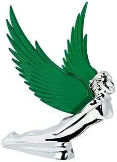 Chrome Flying Goddess Hood Ornament - Green