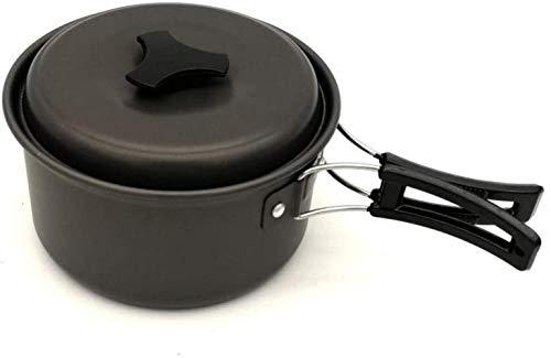 DIMPLEYA Pots Batterie De Cuisine en Plein Air Allez Petit Pot Portable pour La Marche, Marche, la randonnée, la préparation aux urgences, ou dans Le Cadre d'une Trousse de Survie,Noir