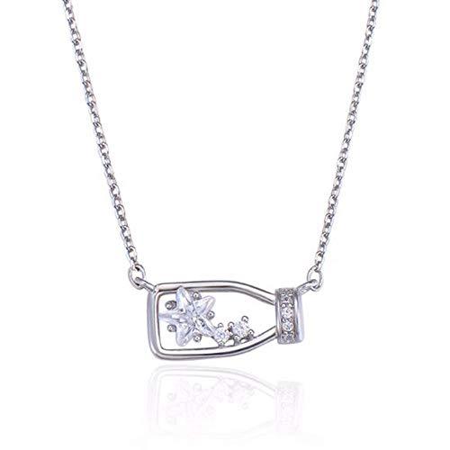 LemS925 Sterling Silber Halskette Schmuck Kreative Intarsien Zirkon Stern Wünschen Flasche Schlüsselbein Kette