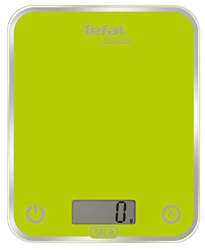 Tefal BC5002V1 Balance de Cuisine Électronique Optiss 5kg/1g Fonction Tare Conversion Liquide Ecran LCD Vert Anis