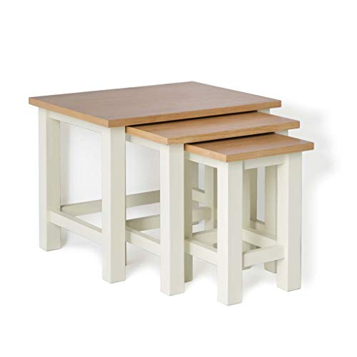 RoselandFurniture Farrow Cream Nest Of Tables with Oak Tops | Set of 3 Nesting Coffee Tables Painted Solid Wooden Small Occasional Country Nested Side Lamp Stands for Living Room, Fully Assembled