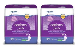 Equate Options Incontinence Pads for Women Moderate Long Length 54 Ct  Pack of 2