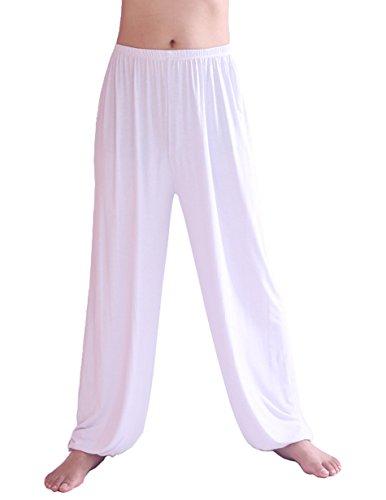 Hoerev Hommes Super Soft Modal Spandex Harem Yoga / Pilates Pantalons, Blanc, L