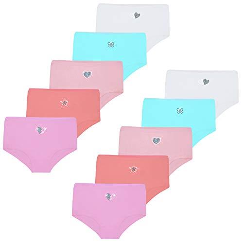 LOREZA ® 10er Set Mädchen Baumwolle Strass & Glitzer Pantys (92-98 (2-3 Jahre), Modell 2-10er Set)