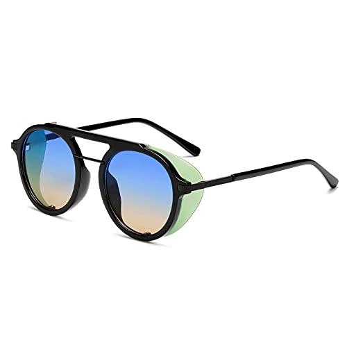 Gafas De Sol Steampunk Gafas De Sol Hombres Mujeres Moda Gafas De Sol Redondas Mujeres Vintage Punk Eyewear Uv400 C4Black-Blueyellow