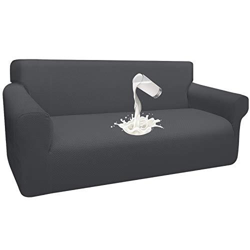 Granbest Dicke Wasserdicht Sofabezug 1 Stück Luxuriös Thick Couchbezug für Hunde Schick Jacquard Elastische Couchbezug Möbelbezüge mit Anti-Rutsch-Schaumstoffe (3 Sitzer, Grau)