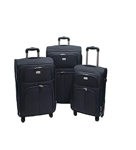 SLmilano Trolley valigia set valigie semirigide set bagagli in tessuto super leggeri 4 ruote piroettanti trolley piccolo adatto per cabina con compagnie lowcost art.214 (nero)