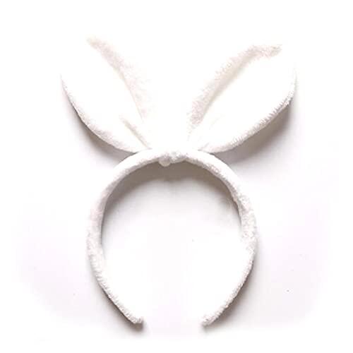 MENGHUA Rabbit Ears Diadema otoño e Invierno Horquilla de felpar exagerado Gran Diadema de Arco Vestido de Dibujos Animados White