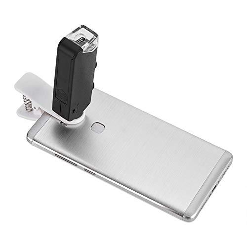 DAUERHAFT Lente de microscopio LED 60X-100X Lente de microscopio óptico con Zoom práctico para teléfonos con Clip, para teléfono móvil con luz LED