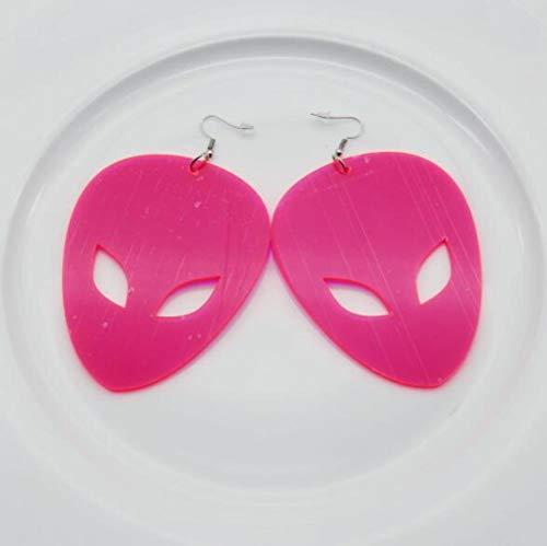 HAOSHA Los Hombres De Acrílico UFO Extraterrestres Pendientes Colgantes Exagerados Grandes Pendientes De Fiesta De Color Neón, Neon Pink Alien