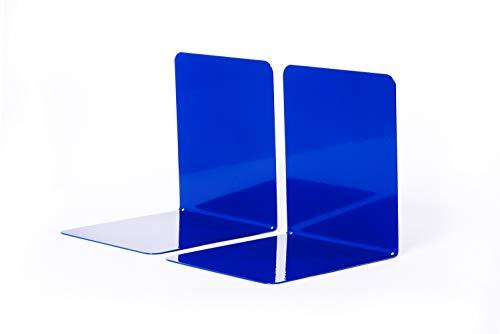 Maul 3506237 Buchstützen aus Metall, 2 Stück, 14x12x14 cm, Blau