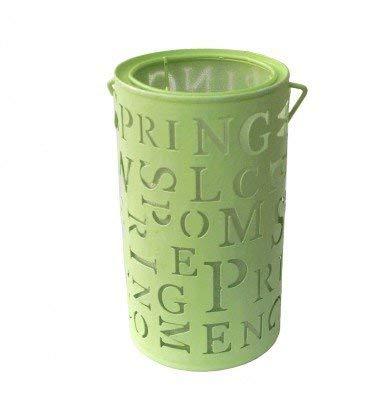 Landhaus Impressionen Windlicht grün Spring mit Henkel Metall Glitzer - Effekt