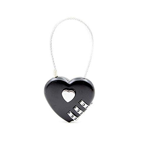 Bicycle Lock 1pcs Heart Shaped Padlock 3 Dial Digit Password Lock Luggage Password Padlock Double Mood Love Lock-Black