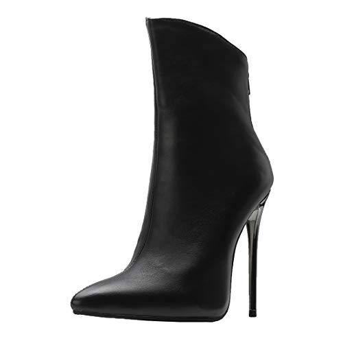 MISSUIT Damen Spitze High Heels Stiefeletten Stiletto Ankle Boots Reißverschluss Hinten 12cm Absatz(Schwarz,45)