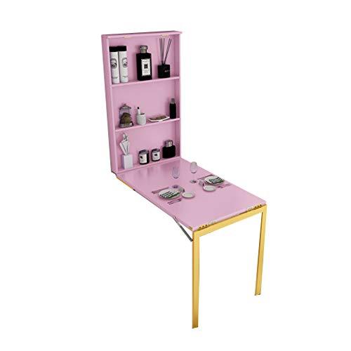 Wand Klapptisch Computertisch Mit Schließfach Schlafzimmer Mit Spiegelfunktion Küchen-Esstisch Spart Platz,Schnallendesign Abfallen...