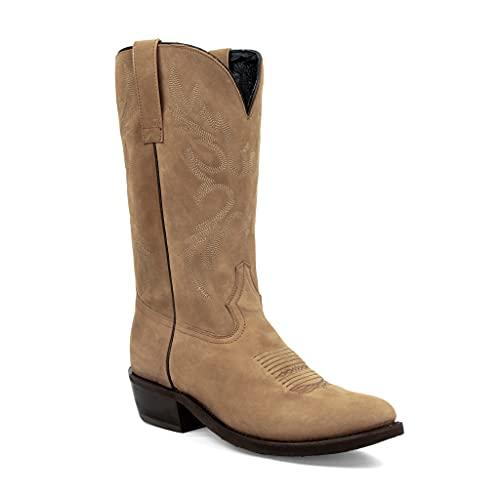 Men's Brown Distressed Round Toe Western Cowboy Boot (Brown, 10)