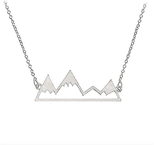 Yiffshunl Collar Collar de montaña Collar de Mapa del Mundo Joyería de la Naturaleza Caminante Escalada Amantes Regalos Joyería Minimalista Regalos