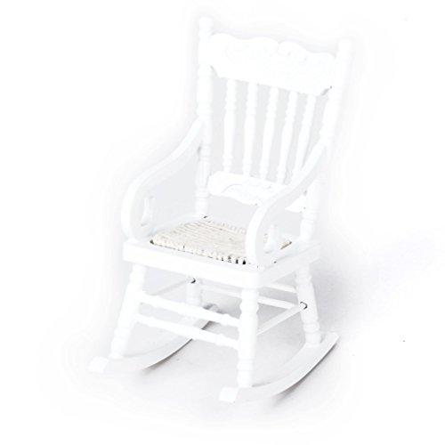 SODIAL(R) Modelo de silla mecedora de madera de casa de munecas en miniatura 1/12 Blanco