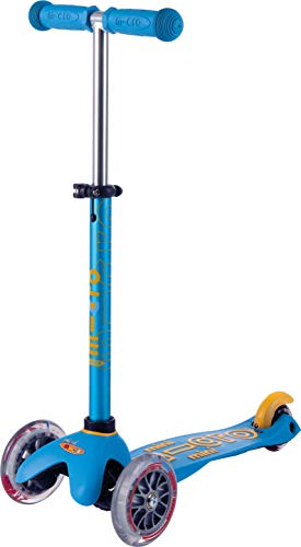 Micro Kickboard - Mini Deluxe - Three Wheeled, Lean-to-Steer Swiss-Designed Micro Scooter for Toddlers & Children with Adjustable Handlebar for Ages 2-5 (Ocean Blue)