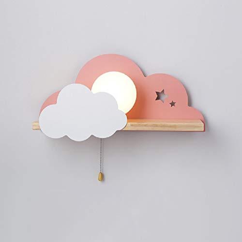 E27 Decoración En Forma Nube Nórdica Estante Lectura Diseño Lámpara (Rosado)