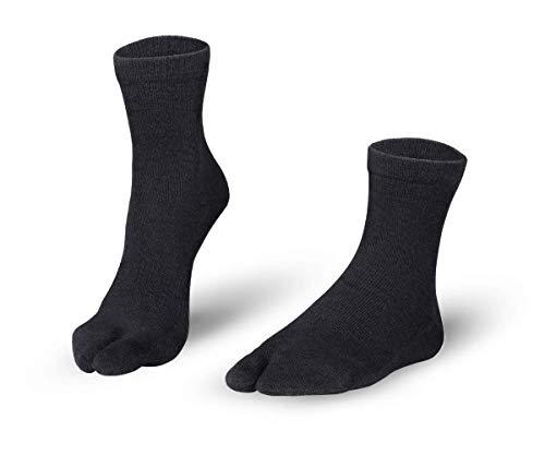 Knitido Tabi Zehensocken Cotton und Merino Melange aus Baumwolle & Merino, Größe:43-46, Farbe:Black (101)
