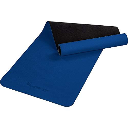 Movit XXL TPE Pilates Gymnastikmatte, Yogamatte, schadstoffgeprüft, 190x60, Stärke 0,6cm, Yoga Matte, Dunkelblau