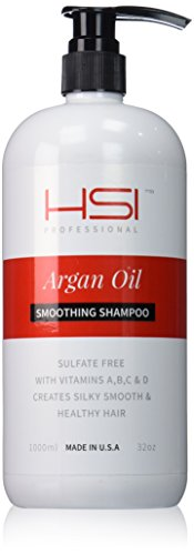 HSI PROFESSIONAL #1 SMOOTHING SHAMPOO WITH ARGAN OIL AND INFUSED WITH VITAMINS A,B,C & D. CREATES SILKY, SMOOTH AND HEALTHY HAIR. SULFATE FREE. MADE IN USA. (32oz) by HSI PROFESSIONAL