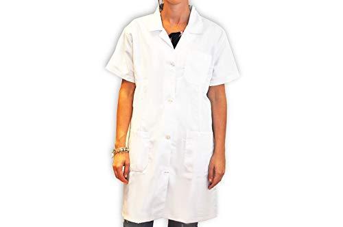 BSPOT Bata Médico Manga Corta Blanco Bata de Laboratorio Enfermera Sanitaria de Trabajo para Médicos Mujer (L)