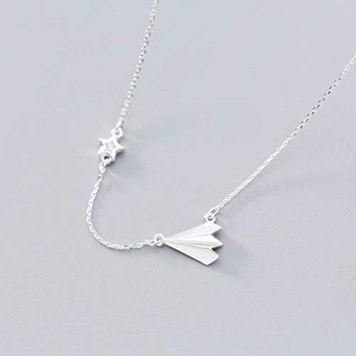 WOZUIMEI S925 Silber Halskette Anhänger Halskette Damen Stil Papier Flugzeug Lady's Mode Single Drill Schlüsselbein Kette Stern SchmuckS925 Silbermantelstrang