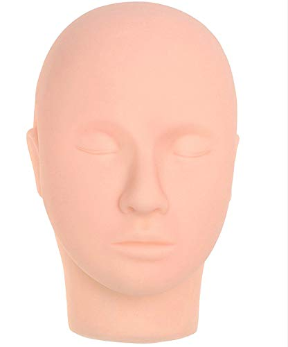 Silicone Mannequin Head,Pro Training Mannequin Flat Head Practice Make Up Eye Lashes Eyelash Extensions,Practice Training Head Manikin Cosmetology Mannequin Doll Face Head (Skin colour -A)
