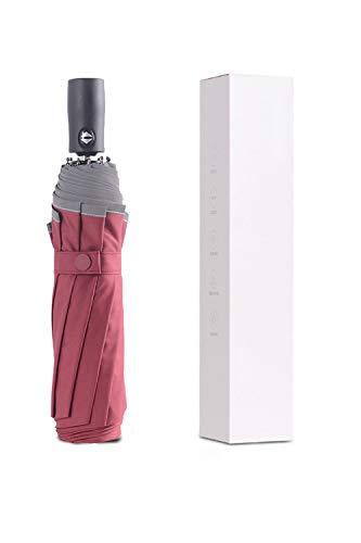 Safety Folding Umbrella,Compact Travel Umbrella Windproof Automatic Open and Closed Umbrellas-best Heavy Duty Rain Umbrellas (Red) 23 inch 10 Ribs