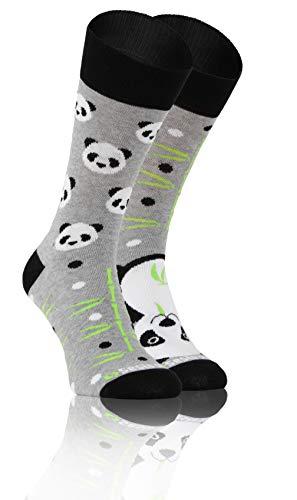 Sesto Senso Lustige Baumwolle Socken Damen Herren Bunte Ungleiche Funny Socks Bambus 35-38 Panda