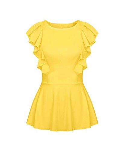 Women's Ruffle Sleeve Peplum Blouse Top Casual T Shirt Yellow XL